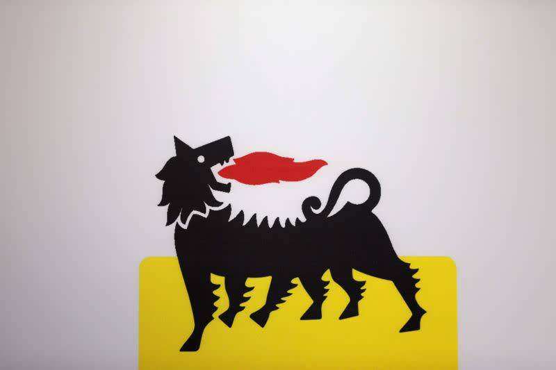 The logo of Italian energy company Eni is seen at the booth of Eni during the Nigeria International Petroleum Summit in Abuja
