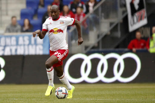 New York Red Bulls forward Bradley Wright-Phillips (99) runs with the ball against the Real Salt Lake during the first half of an MLS soccer match, Saturday, March 25, 2017, in Harrison, N.J. (AP Photo/Julio Cortez)