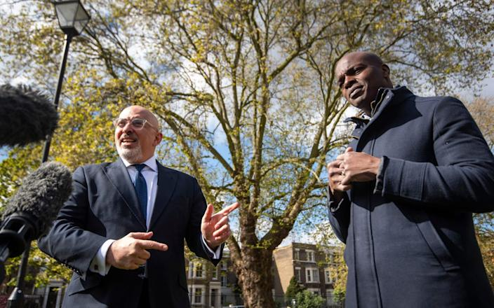 Shaun Bailey (right) with vaccines minister Nadhim Zahawi today - PA