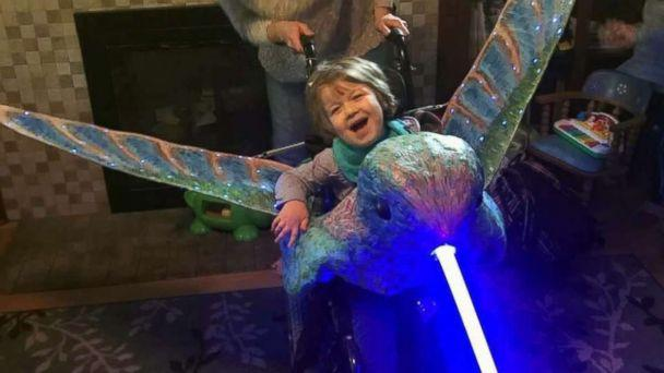 PHOTO: Mattea Haigh, 5, of Portland, Ore., was surprised by her light-up hummingbird costume. (Courtesy Magic Wheelchair)