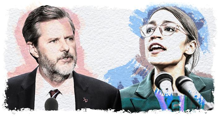 Jerry Falwell Jr. and Alexandria Ocasio-Cortez (Yahoo News photo Illustration; photos: AP, Getty Images)