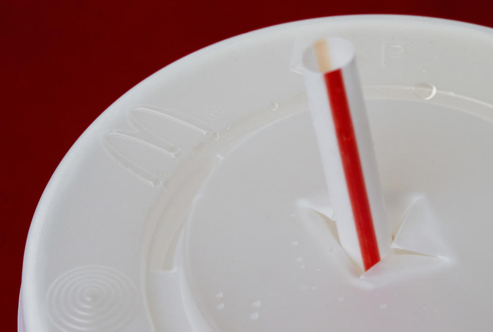 McDonald's announced they would phasing out plastic straws over the next two years. Source: AP