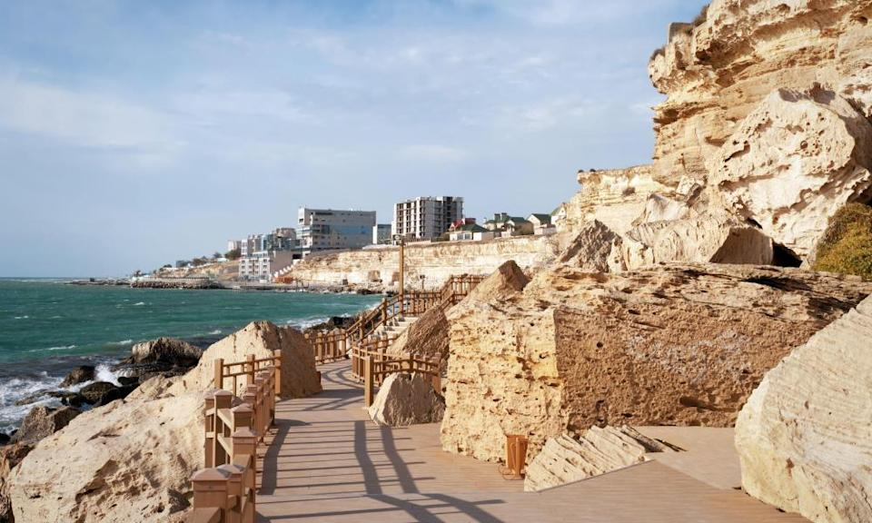 Rock trail in the city of Aktau.