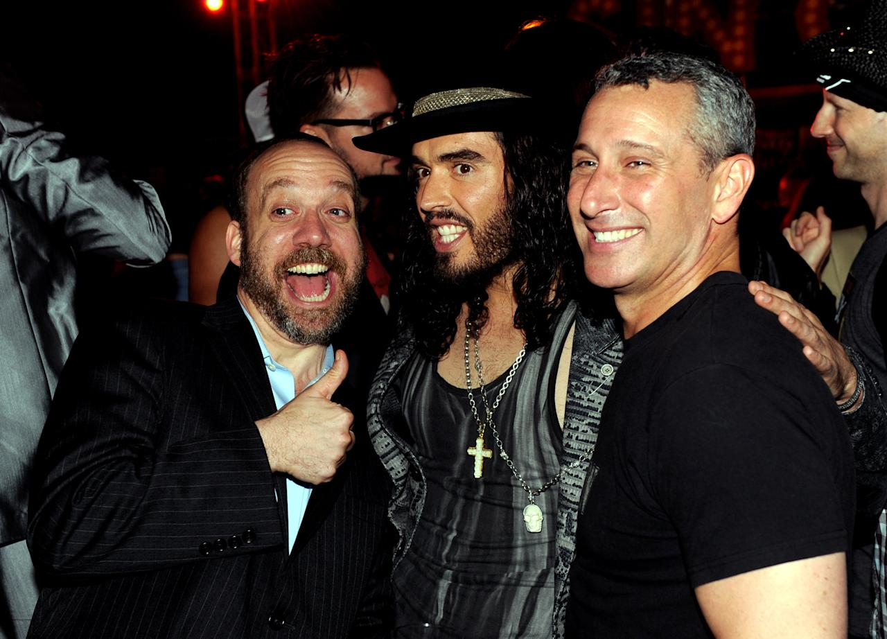 "LOS ANGELES, CA - JUNE 08:  (L-R) Actors Paul Giamatti, Russell Brand and director Adam Shankman pose at the after party for the premiere of Warner Bros. Pictures' ""Rock Of Ages"" at Hollywood and Highland on June 8, 2012 in Los Angeles, California.  (Photo by Kevin Winter/Getty Images)"