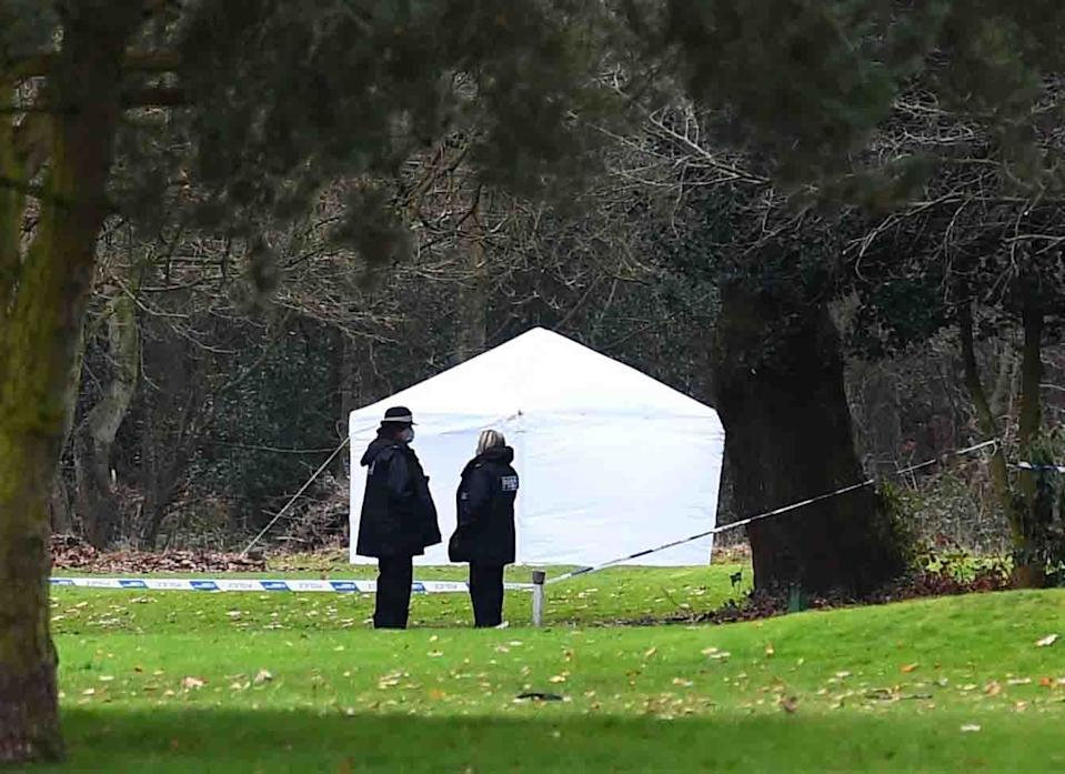 A Police forensic tent at Brackenwood Golf Course.(Pic Andrew Teebay).