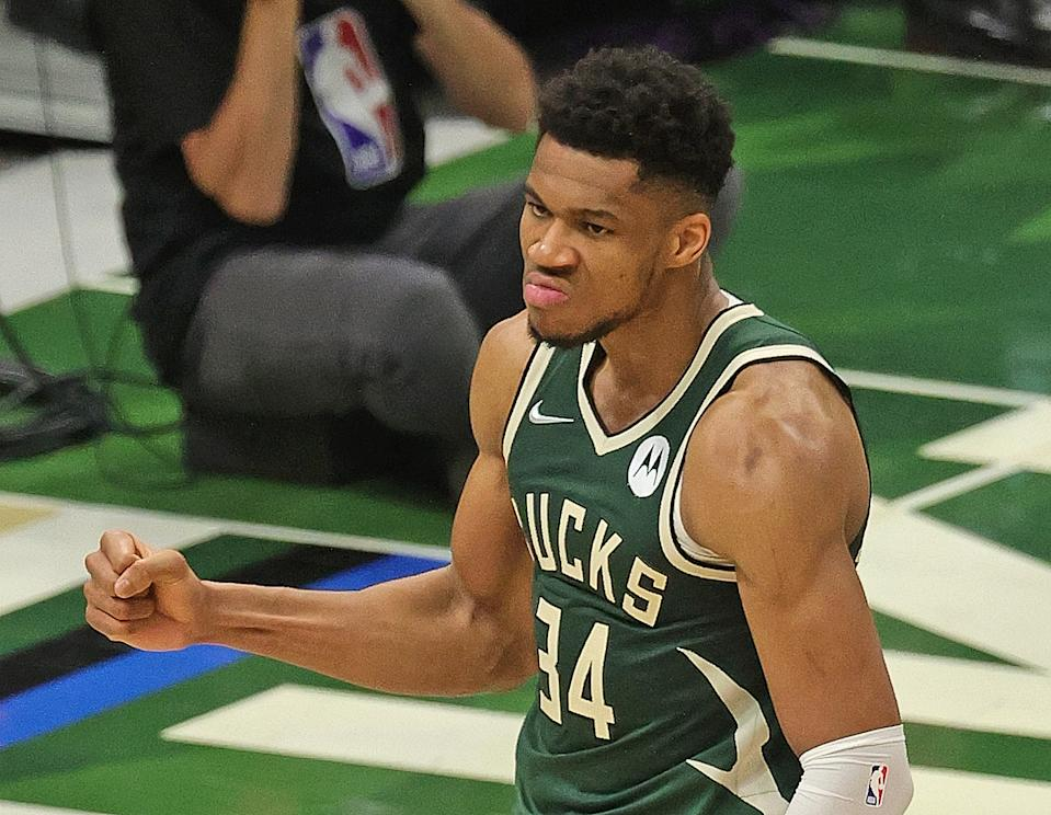 Giannis Antetokounmpo would climb the NBA's all-time player rankings with a championship and Finals MVP. (Jonathan Daniel/Getty Images)