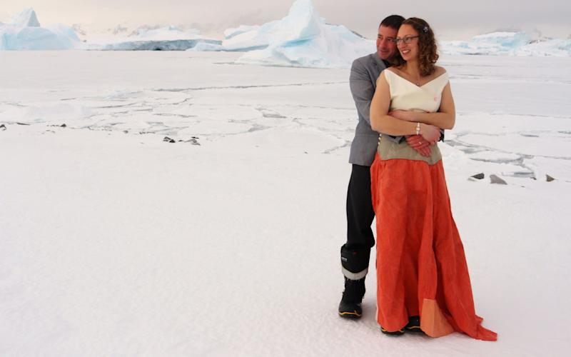 Polar field guides Julie Baum and Tom Sylvester have tied the knot in the first official wedding on the British Antarctic Territory - PA