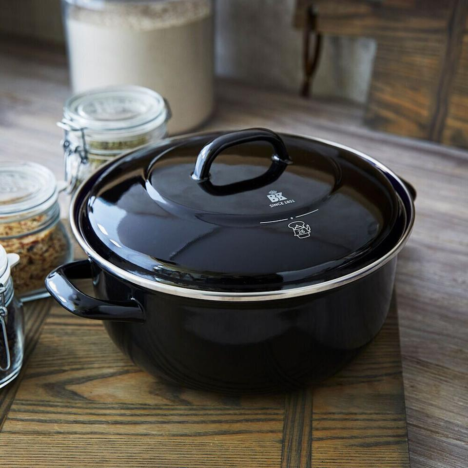 "This affordable Dutch oven is handmade in Germany, with a carbon steel construction and enamel coating. It has features like heat-proof handles and stainless steel rim to make cooking and cleaning much less of a chore. <a href=""https://fave.co/38Z3vBM"" target=""_blank"" rel=""noopener noreferrer"">Originally $208, get it now for $100 at Sur La Table</a>."