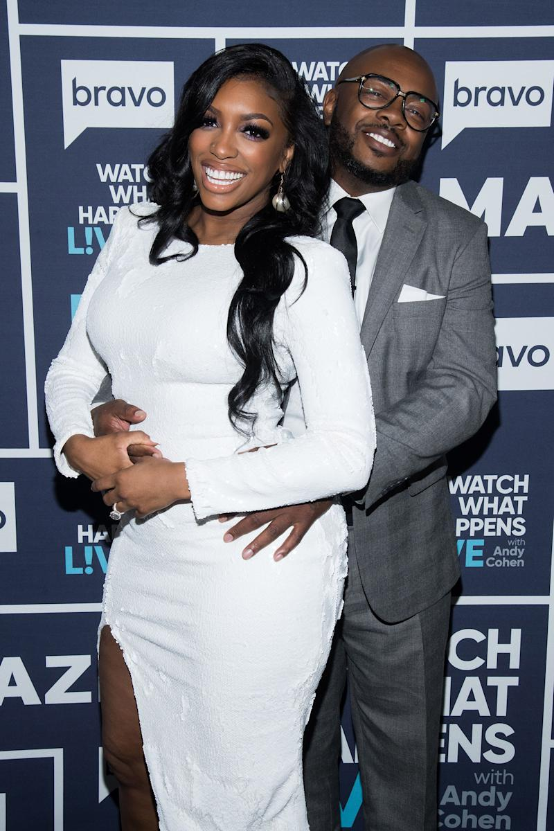 Porsha Williams posing with Dennis McKinley at 'Watch What Happens Live!'