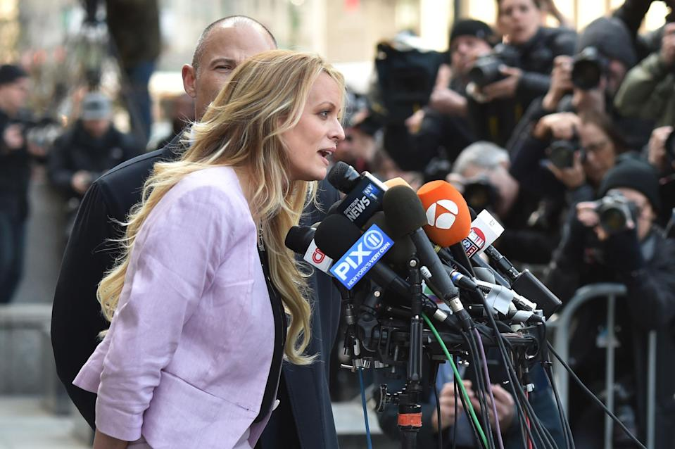 Image: Stormy Daniels speaks to members of the media outside U.S. Federal Court (Hector Retamal / AFP - Getty Images file)