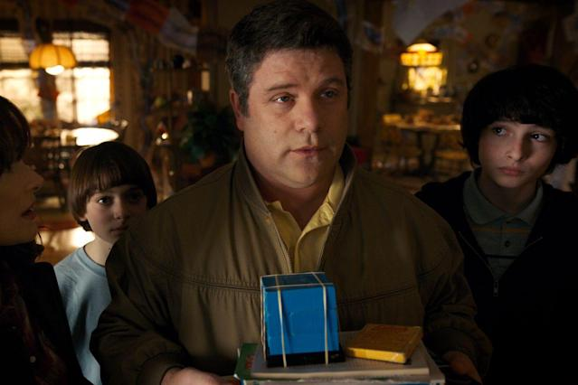 From left: Winona Ryder as Joyce, Noah Schnapp as Will, Sean Astin as Bob, and Finn Wolfhard as Mike in <em>Stranger Things</em> (Photo: Netflix)