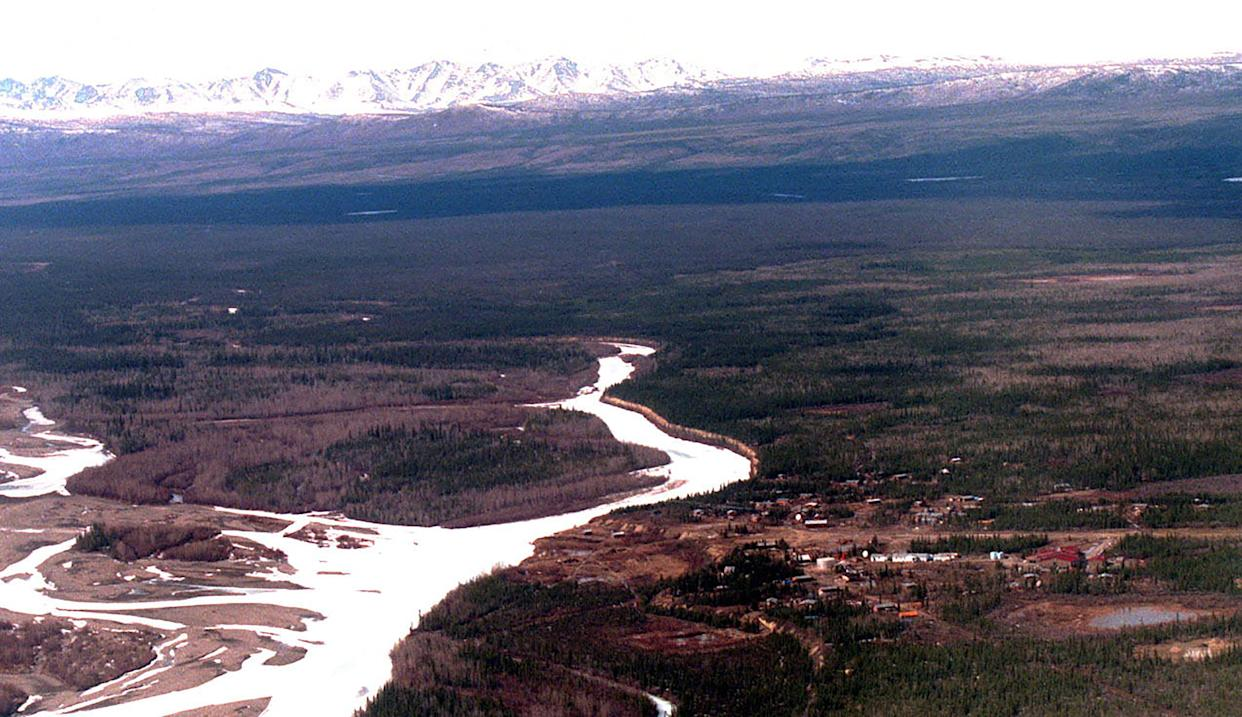 Venetie, Alaska, a remote village about 150 miles north of Fairbanks, April 29, 1997. (Jim Wilson/The New York Times)