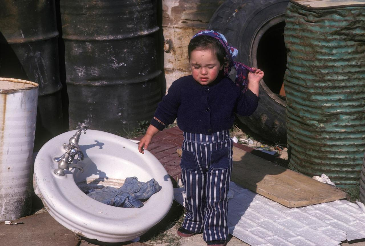 <p>Gainsbourg at age three wore a pair of stripped denim jeans in France.</p>