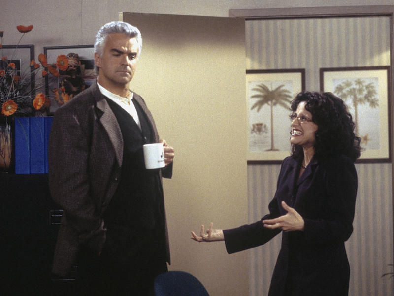 "John O'Hurley played J. Peterman, the boss of Elaine Benes, portrayed by Julia Louis-Dreyfus, on a 1998 episode of ""Seinfeld."" (Photo: Joey Delvalle/NBCU Photo Bank)"