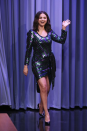 <p>Wearing a multicolored sequined dress by THE Marc Jacobs during her appearance on <em>The Tonight Show With Jimmy Fallon</em>.</p>