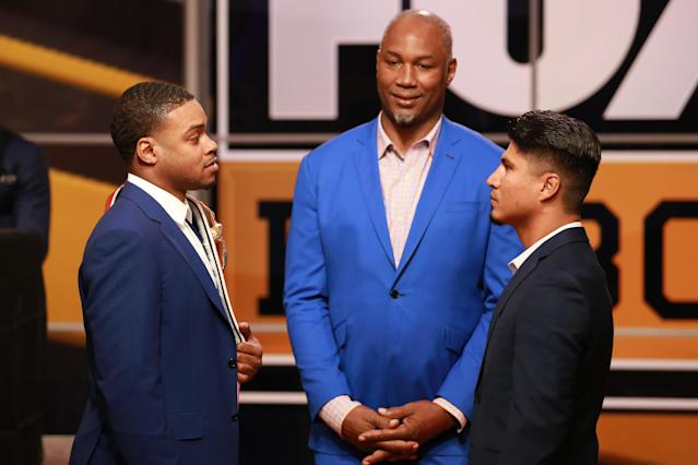 Errol Spence Jr. and Mikey Garcia face-off at the Fox Sports and Premier Boxing Champions Press Conference Experience on Nov. 13, 2018 in Los Angeles. (Getty Images)