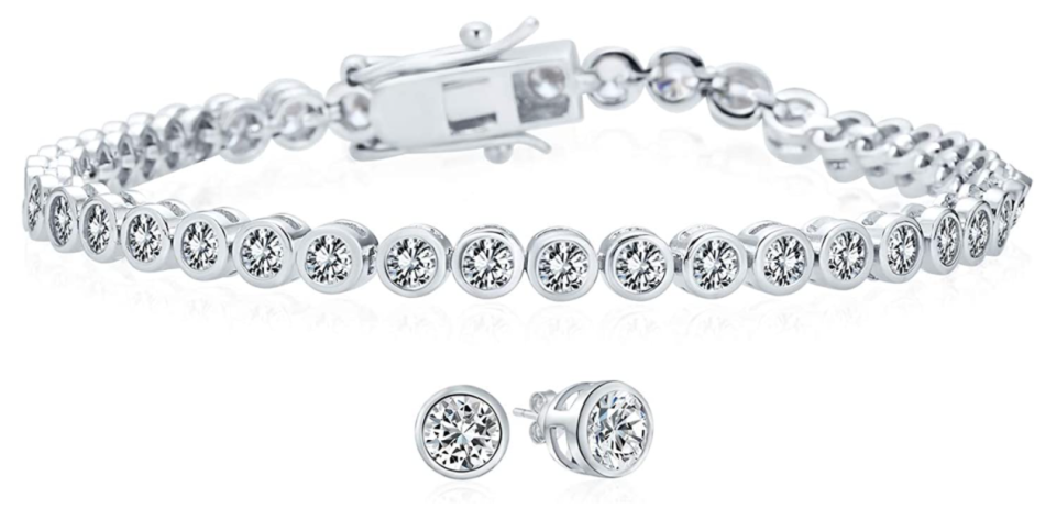 Bling Jewelry Cubic Zirconia Round Bubble Bezel Tennis Bracelet and Earring Set