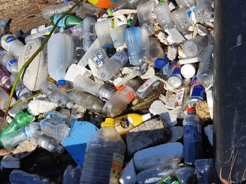 Empty plastic bottles and rubbish is pictured after being pulled from Cooks River, Sydney.