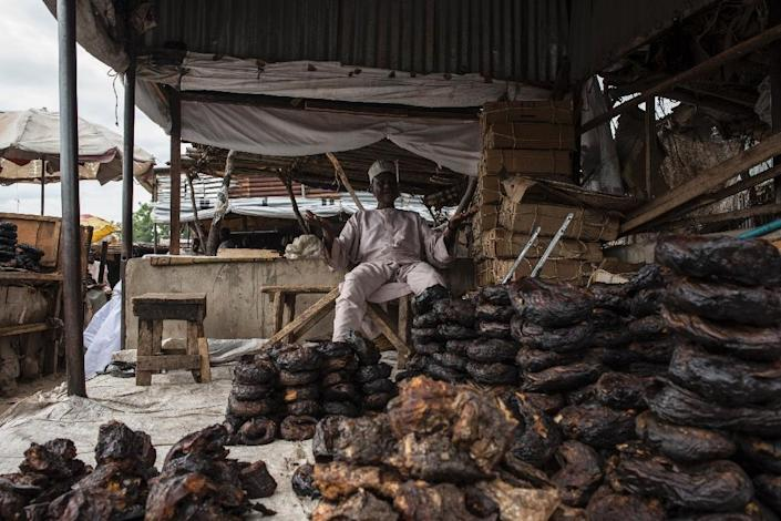 Only a few merchants remaion at the once-teeming fish market at Maiduguri, the capital of Borno state and major trading hub (AFP Photo/STEFAN HEUNIS)