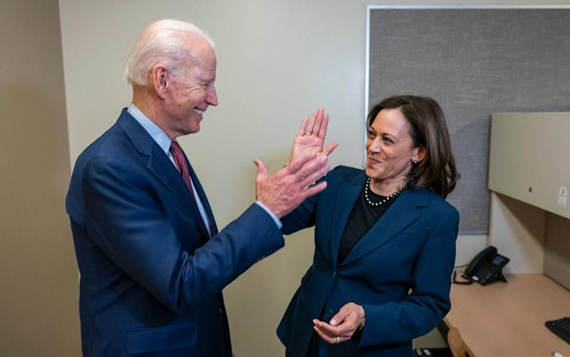Moments after the announcement, Biden's campaign released a photo of him and Harris