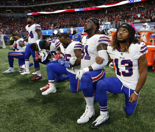 <p>Buffalo Bills players take a knee during the national anthem before the first half of an NFL football game between the Atlanta Falcons and the Buffalo Bills, Sunday, Oct. 1, 2017, in Atlanta. (AP Photo/John Bazemore) </p>
