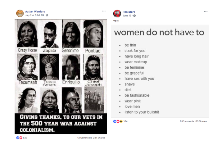 "A sample of the posts from ""Aztlan Warriors"" and ""Resisters,"" two pages Facebook identified as inauthentic. (Facebook)"