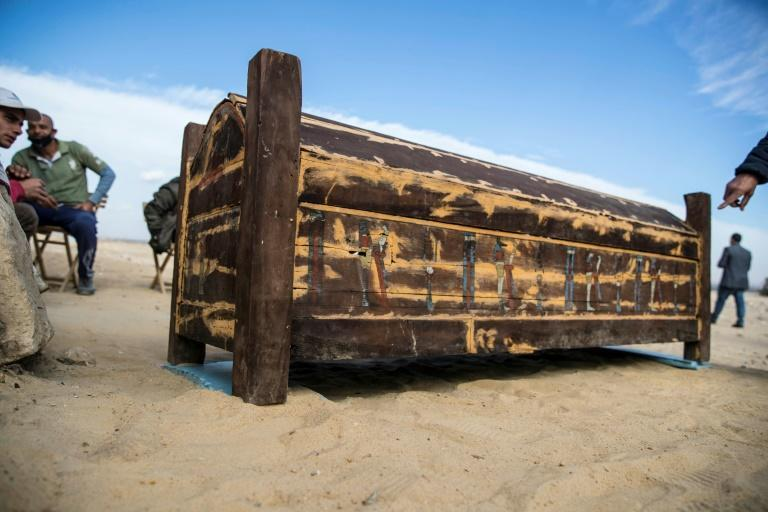 The wooden sarcophagi are dated to the New Kingdom (16th century BC to 11th century BC)