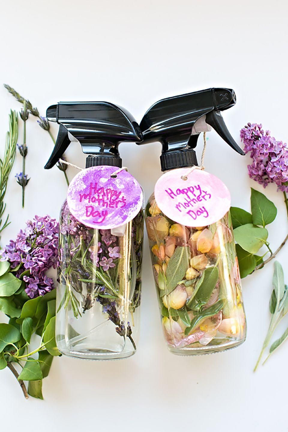 """<p>Made with water, essential oils, and assorted flowers and herbs, these fragrant """"perfumes"""" won't last more than a few days, but they make for fun gifts. This blogger and her daughter made one with rose and sage, and another with lavender, lilac, and rosemary.</p><p><strong>Get the tutorial at <a href=""""http://www.hellowonderful.co/post/KID-MADE-DIY-MOTHER----S-DAY-FLORAL-HERB-PERFUME#_a5y_p=5283056"""" rel=""""nofollow noopener"""" target=""""_blank"""" data-ylk=""""slk:Hello, Wonderful"""" class=""""link rapid-noclick-resp"""">Hello, Wonderful</a>. </strong></p>"""