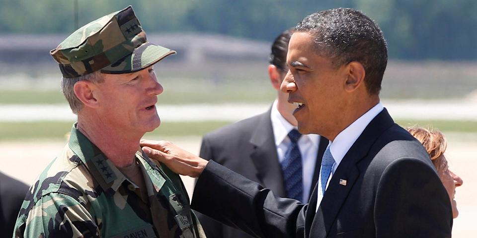 In this May 6, 2011, file photo President Barack Obama talks with U.S. Navy Vice Admiral William H. McRaven, commander of Joint Special Operations Command (JSOC), at Campbell Army Airfield in Fort Campbell, Ky., just days after McRaven led operational control of Navy SEAL Team Six's successful mission to get Osama bin Laden