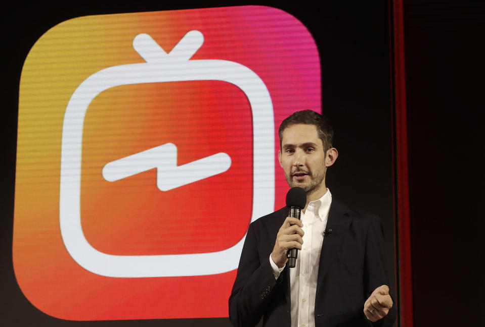 FILE – In this Tuesday, June 19, 2018, file photo, Kevin Systrom, CEO and co-founder of Instagram, prepares for an announcement about IGTV in San Francisco. (AP Photo/Jeff Chiu, File)