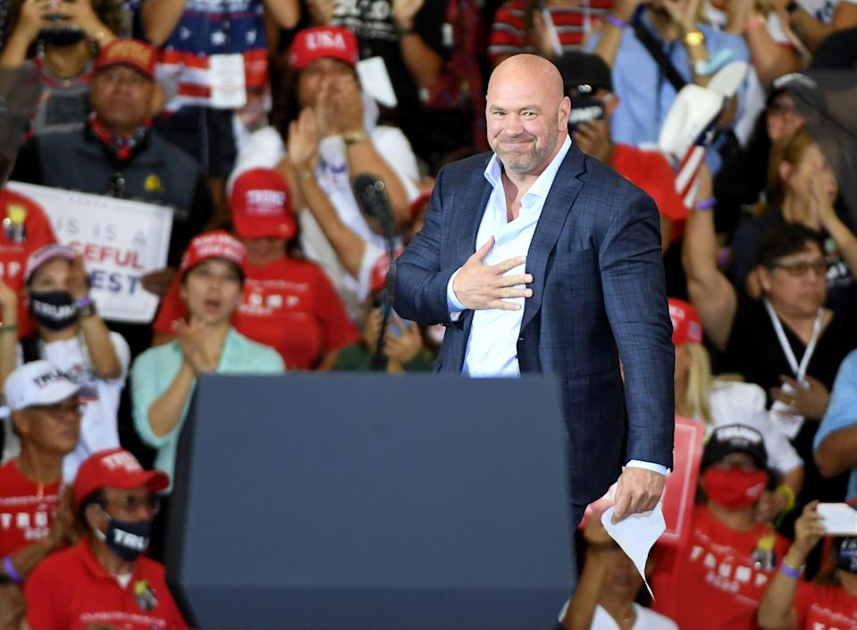 HENDERSON, NEVADA - SEPTEMBER 13:  UFC President Dana White gestures as he walks onstage to speak at a campaign event for U.S. President Donald Trump at Xtreme Manufacturing on September 13, 2020 in Henderson, Nevada. Trump's visit comes after Nevada Republicans blamed Democratic Nevada Gov. Steve Sisolak for blocking other events he had planned in the state.  (Photo by Ethan Miller/Getty Images)