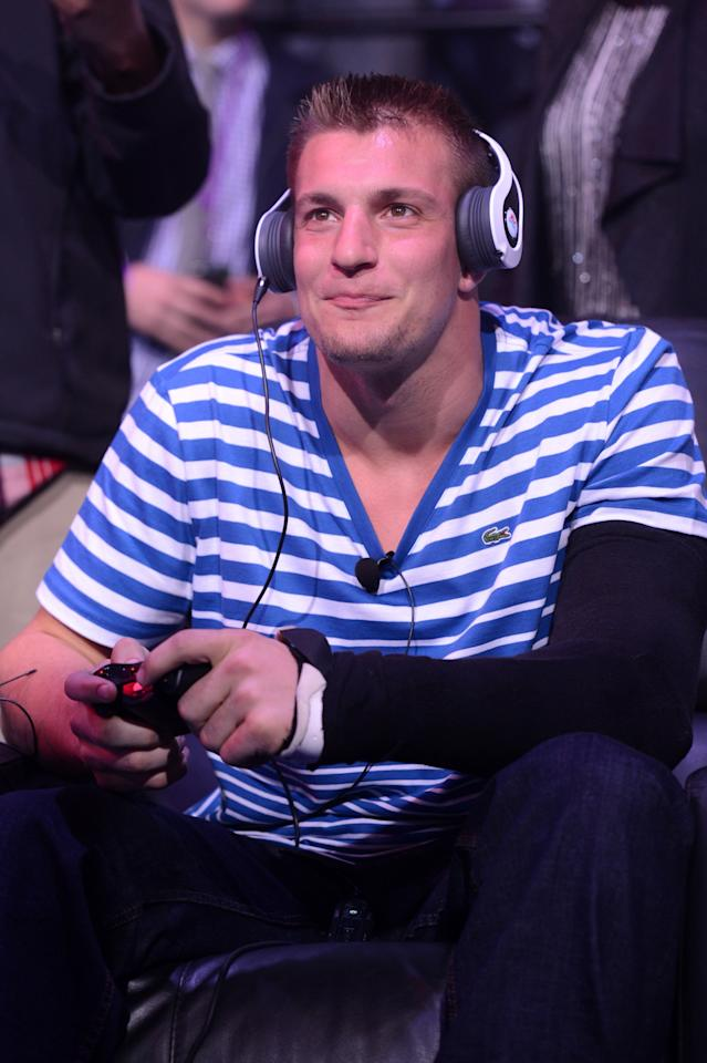 NEW ORLEANS, LA - JANUARY 31:  NFL player Rob Gronkowski of the New England Patriots attends EA SPORTS Madden Bowl XIX at the Bud Light Hotel on January 31, 2013 in New Orleans, Louisiana.  (Photo by Stephen Lovekin/Getty Images for Bud Light)