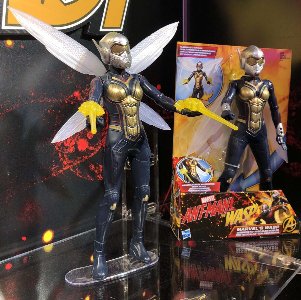 <p>It's about damn time, indeed. Evangeline Lilly's Wasp finally gets her own costume … and her own action figure, courtesy of Hasbro. (Photo: Adam Lance Garcia) </p>