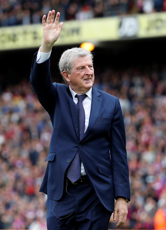 "Soccer Football - Premier League - Crystal Palace vs West Bromwich Albion - Selhurst Park, London, Britain - May 13, 2018 Crystal Palace manager Roy Hodgson waves to the crowd after the match Action Images via Reuters/Matthew Childs EDITORIAL USE ONLY. No use with unauthorized audio, video, data, fixture lists, club/league logos or ""live"" services. Online in-match use limited to 75 images, no video emulation. No use in betting, games or single club/league/player publications. Please contact your account representative for further details."