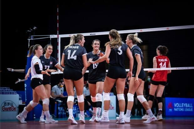 Canada earned their second win in a row as they beat Germany in straight sets in women's Volleyball Nations League action on Tuesday in Rimini, Italy. (Submitted by volleyballworld.com - image credit)