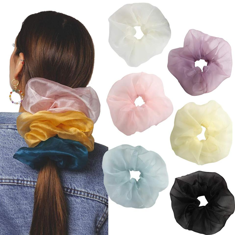 """<h2>AWAYTR Organza Oversized Hair Scrunchies (6-Pack)</h2><br>There's nothing that brings us right back to gym class than a pack of scrunchies. These organza iterations are a more grown-up version. <br><br><strong>AWAYTR</strong> Organza Oversized Hair Scrunchies (6-Pack), $, available at <a href=""""https://amzn.to/37p445N"""" rel=""""nofollow noopener"""" target=""""_blank"""" data-ylk=""""slk:Amazon"""" class=""""link rapid-noclick-resp"""">Amazon</a>"""