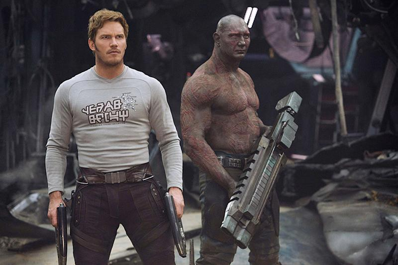 Chris Pratt as Peter Quill rocking his rock star graphic T-shirt