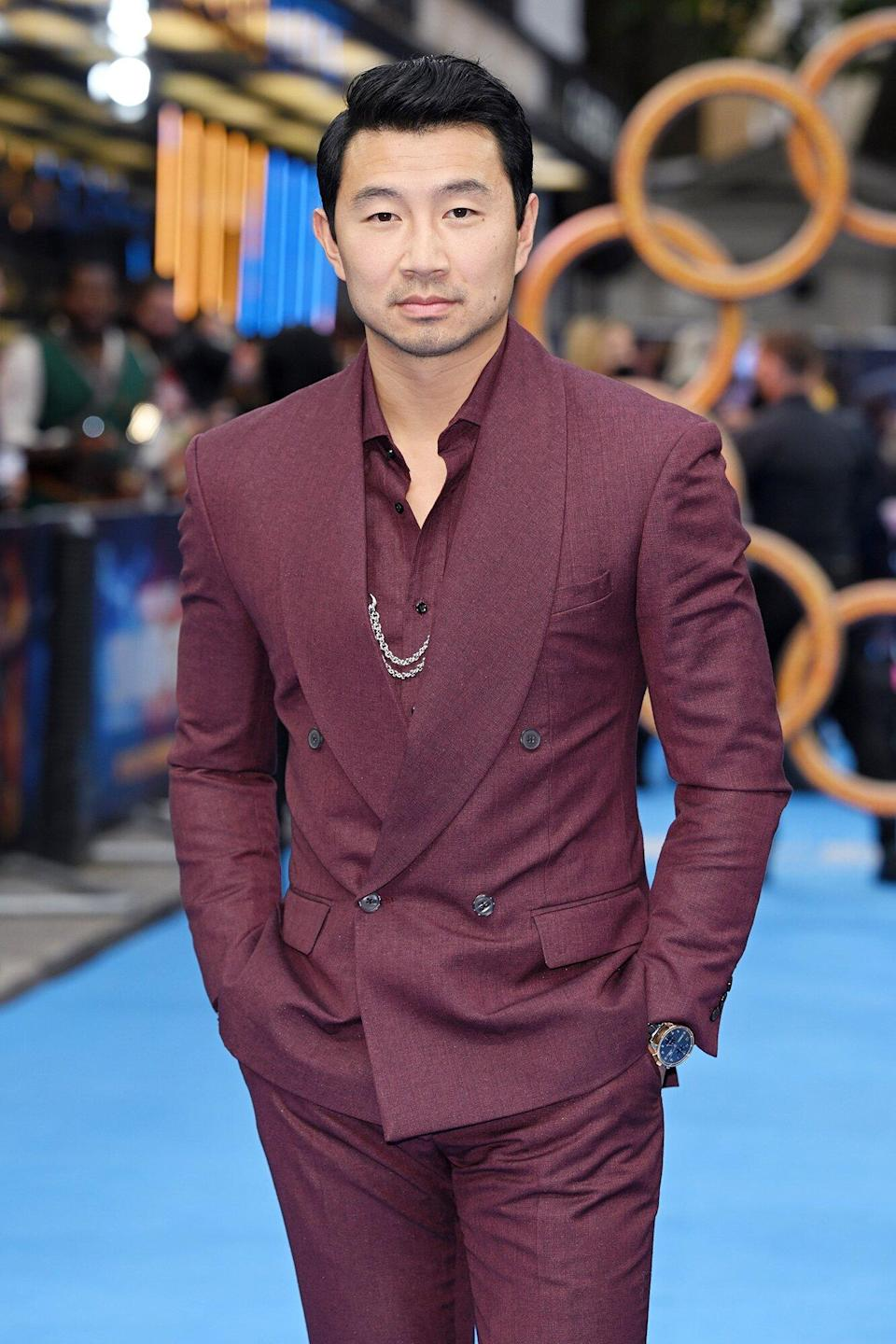 """Simu Liu attends the UK premiere of """"Shang-Chi and the Legend of the Ten Rings"""" at The Curzon Mayfair on August 26, 2021 in London, England."""
