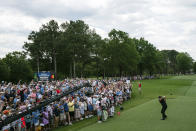 Phil Mickelson tees off on the first hole during the third round of the Wells Fargo Championship golf tournament at Quail Hollow on Saturday, May 8, 2021, in Charlotte, N.C. (AP Photo/Jacob Kupferman)