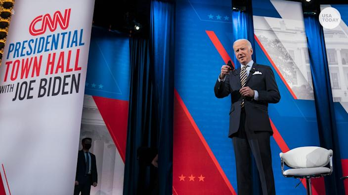 President Joe Biden made the case for his $1.9 trillion coronavirus relief package on his first official trip outside Washington as president.