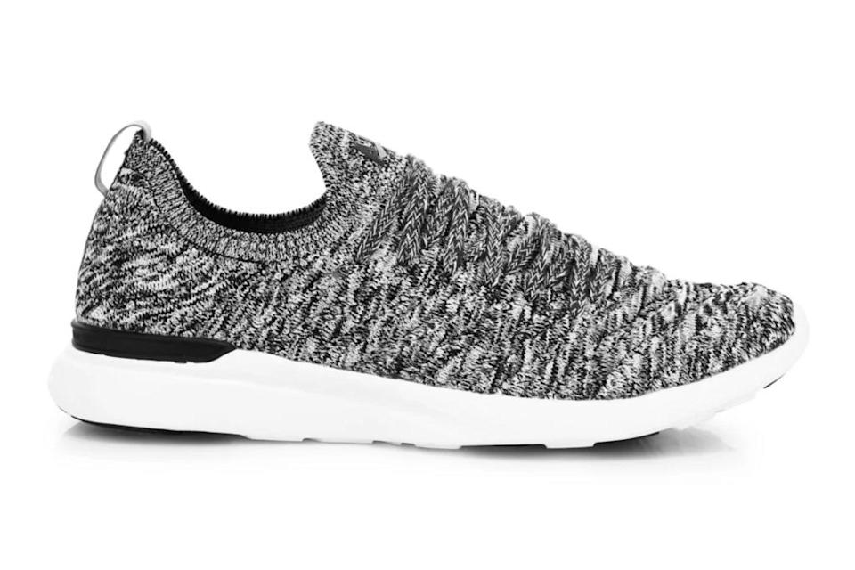 apl, gray running shoes