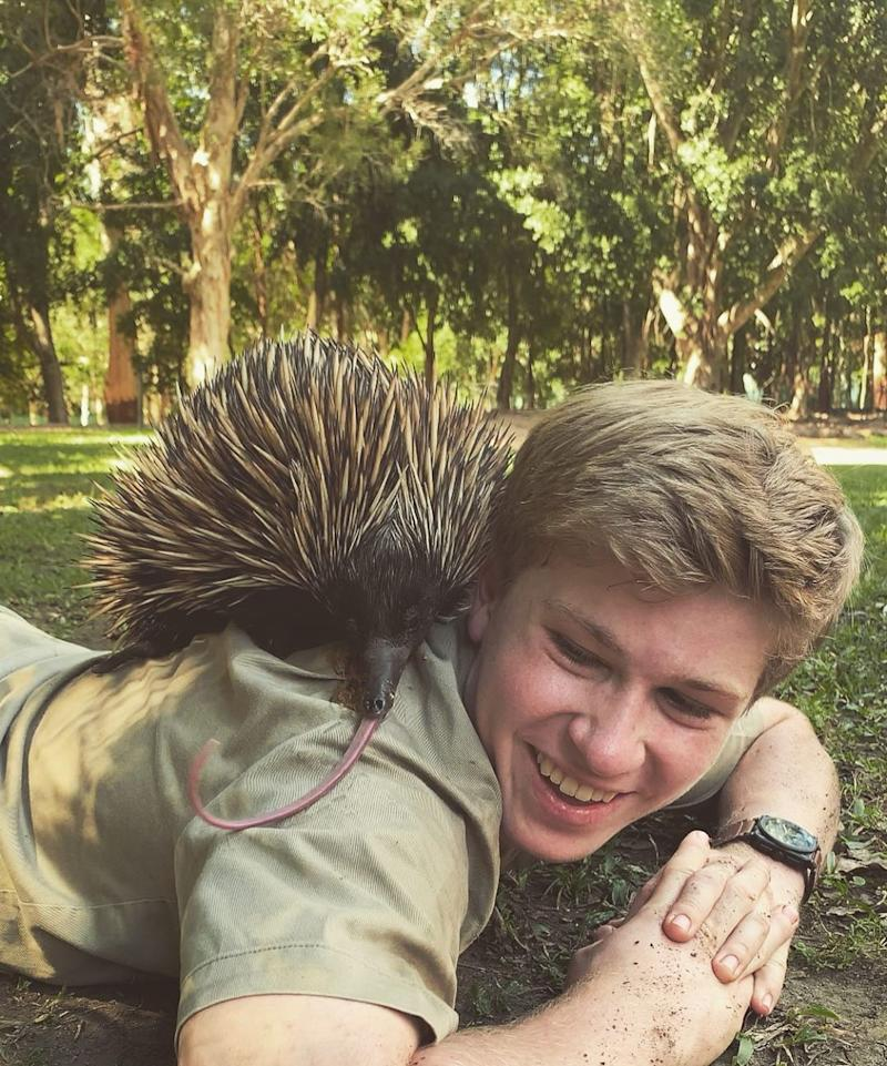 Robert Irwin and an echidna