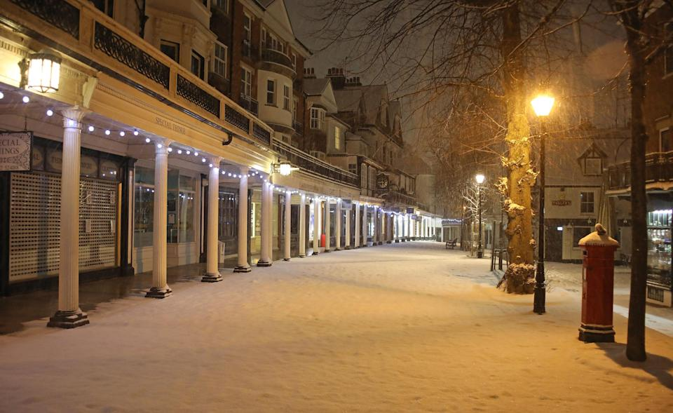 <p>A high street has a covering of snow in Tunbridge Wells, Kent. (PA) </p>