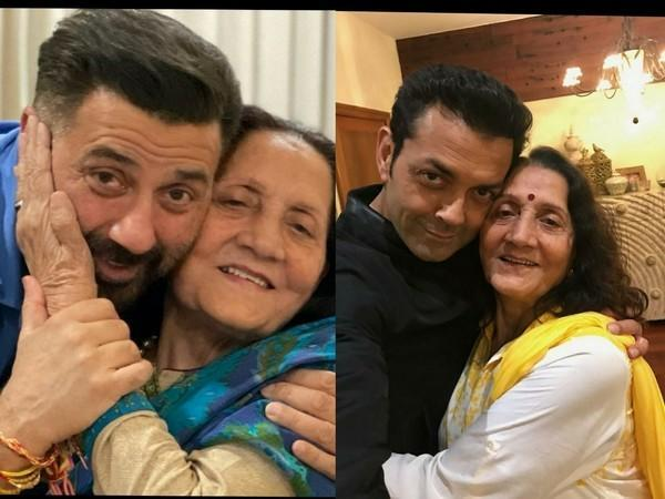 Sunny Deol and Bobby Deol with their mother (Image source: Instagram)