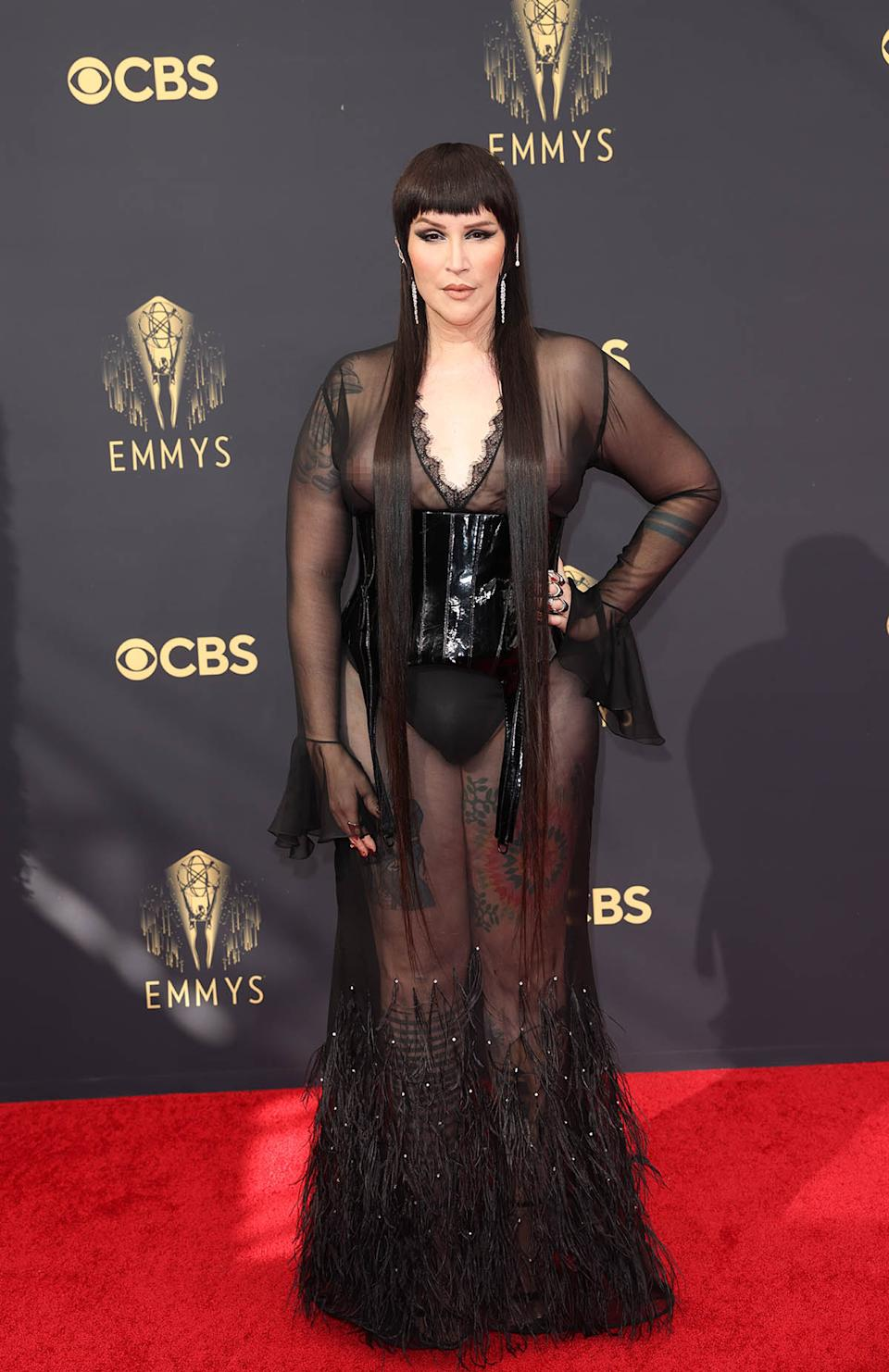 Our Lady J wears a sheer black dress with feathers on the red carpet for the 73rd Annual Emmy Awards taking place at LA Live on Sunday, Sept. 19, 2021 in Los Angeles, CA. (Jay L. Clendenin / Los Angeles Times via Getty Images)
