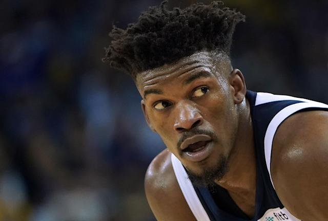 "<a class=""link rapid-noclick-resp"" href=""/nba/players/4912/"" data-ylk=""slk:Jimmy Butler"">Jimmy Butler</a> will be a Philadelphia 76er in short order, according to reports. (Getty)"