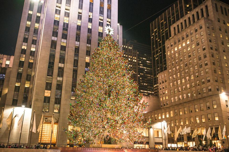 """<p>Details are still vague about whether or not in-person tree lightings—like <a href=""""https://www.rockefellercenter.com/holidays/rockefeller-center-christmas-tree-lighting/"""" rel=""""nofollow noopener"""" target=""""_blank"""" data-ylk=""""slk:the one in Rockefeller Center"""" class=""""link rapid-noclick-resp"""">the one in Rockefeller Center</a>—will still happen this year, but there will be some televised events. Plus, if you have the right spruce, there's no reason you can't stage your own mini version. </p>"""