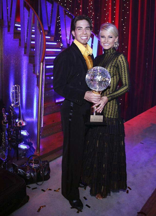 <p>More than a year after taking home one gold and two bronze medals at the 2006 Winter Olympic Games in Turin, Italy, Apolo took off the skates and swapped them for dancing shoes. The speed skater and pro Julianne Hough were a great pair on the dance floor.</p>