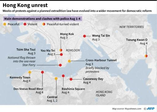 Map of Hong Kong, highlighting the areas of main protests and clashes between August 1-4