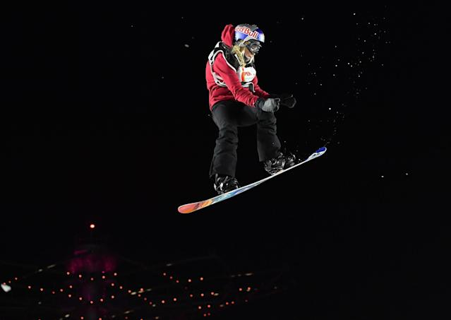Britain's Katie Ormerod soars through the air during the snowboard women's World Cup big air event near Milan, Italy, in 2017. Ormerod fractured her heel in two places on Thursday, and will miss the 2018 Winter Olympics in PyeongChang, South Korea. (AP)